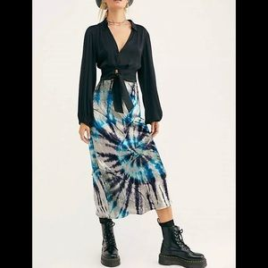 Free People velvet tie dye pieces blue skirt